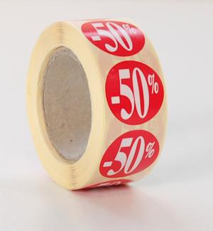 Etikett, rund 50% 500 st