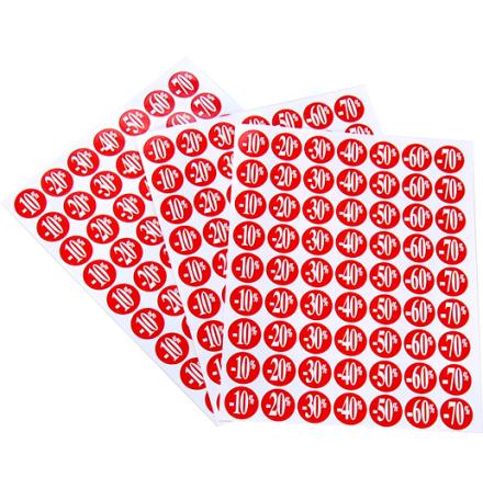 Etikett,röda rund % 189st