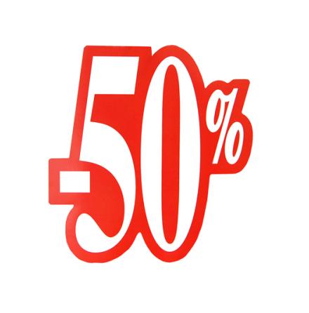 Skylt 50%, utskuren