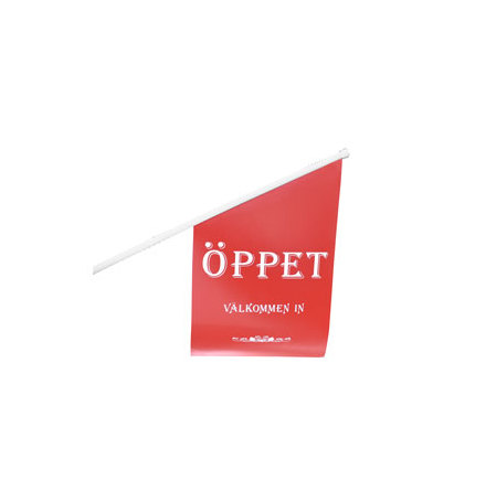 "Butikflaggal ""ÖPPET"" Röd vinyl"