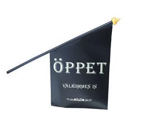 "Butiksflagga ""ÖPPET"" Svart vinyl"